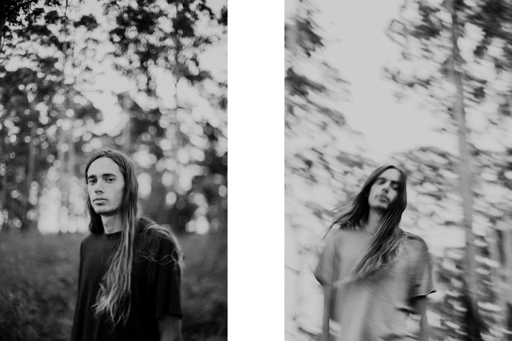 Two creative black and white portraits of man with long hair in forest