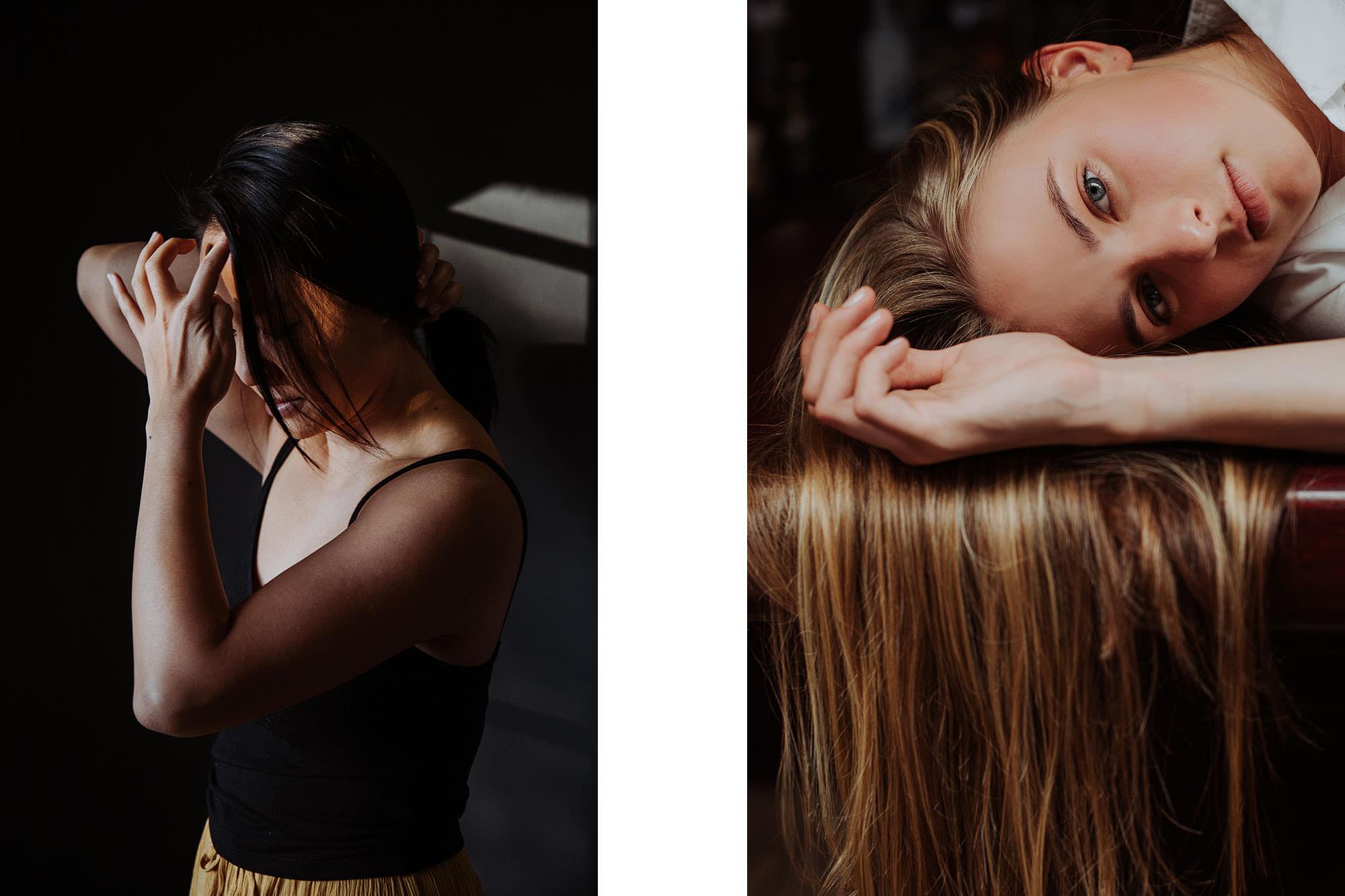 Two portrait alongside one another each of female models taken in beautiful window lighting
