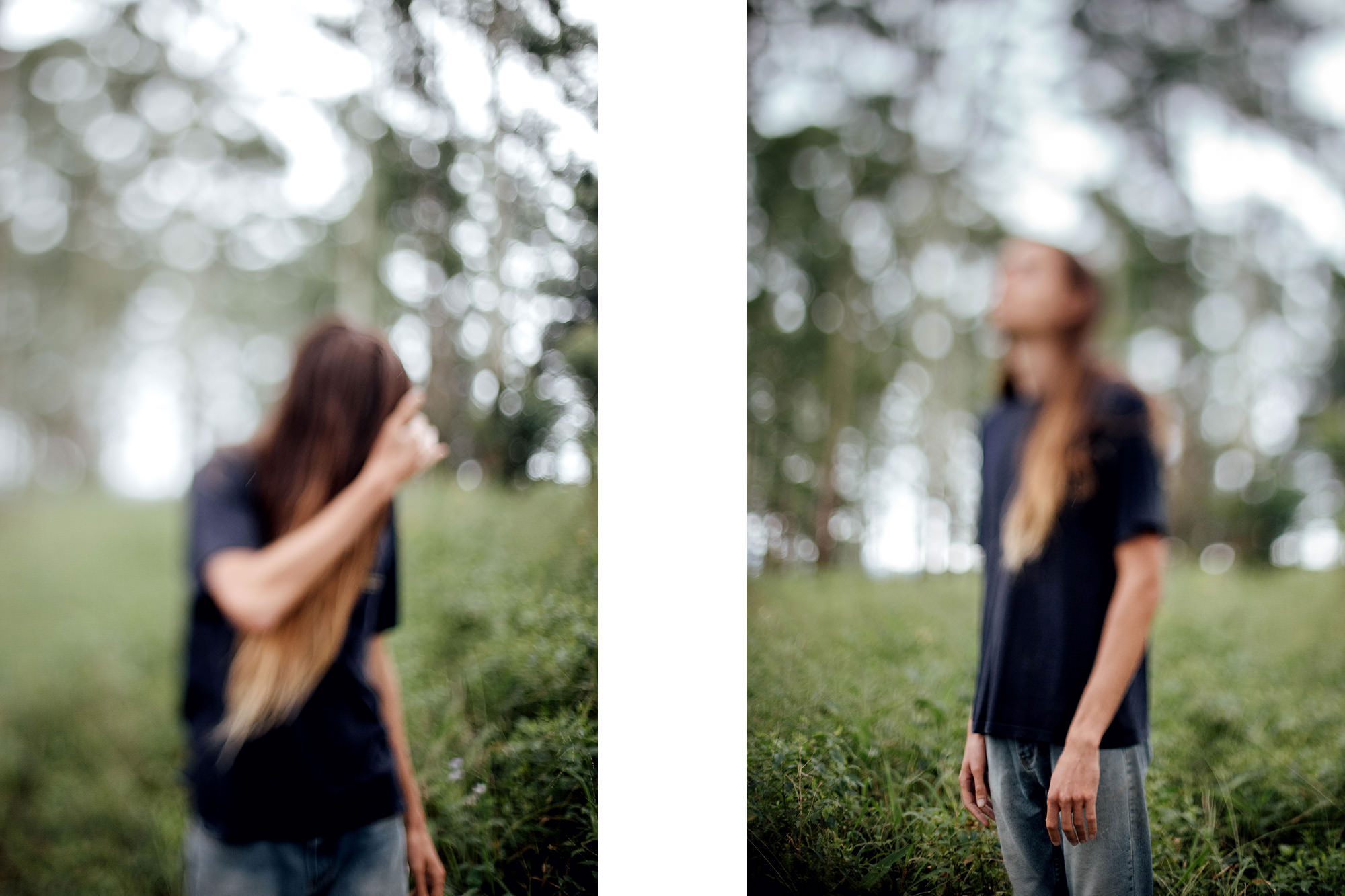 Two artistic portraits of young man with long hair taken using freelensing technique to create areas of blur within the image